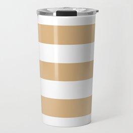 Burlywood - solid color - white stripes pattern Travel Mug