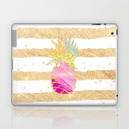 Modern pink watercolor pineapple faux gold glitter stripes Laptop & iPad Skin