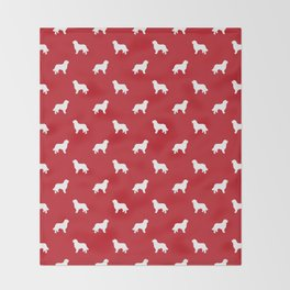 Bernese Mountain Dog pet silhouette dog breed minimal red and white pattern Throw Blanket