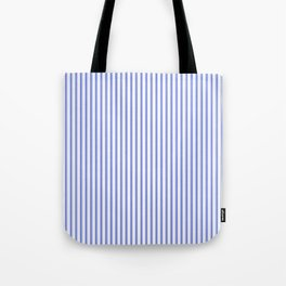 Small Vertical Cobalt Blue and White French Mattress Ticking Stripes Tote Bag