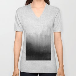 Modern Black and White Watercolor Gradient Unisex V-Neck
