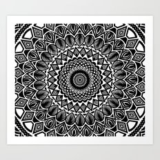 Detailed Black and White Mandala Art Print
