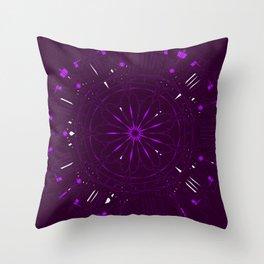 Psychadelic Space Mandala - Blackberry Throw Pillow