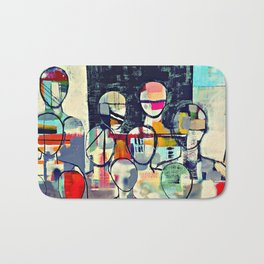 Crowds / abstract - colourful Bath Mat
