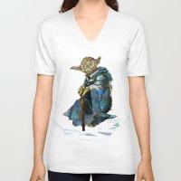 yoda V-neck T-shirts featuring Yoda by pabpaint