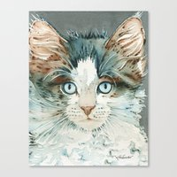leah flores Canvas Prints featuring Leah by Cat Art by Lori Alexander