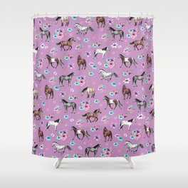 Purple Horse and Flower Print, Hand Drawn, Horse Illustration, Little Girls Decor Shower Curtain