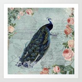 Vintage Victorian Peacock Bird and Roses Illustration on #Society6 Art Print