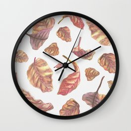 Falling Autumn Leaves Colored Pencil Drawing Autumn Colours Wall Clock