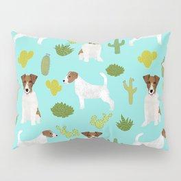 Jack Russell Terrier cactus desert custom pet portrait dog art by pet friendly Pillow Sham