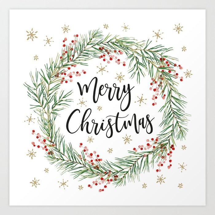 Merry Christmas wreath with red berries Kunstdrucke