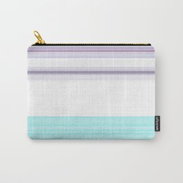 Romantic Pastel Teal white Purple Stripes Carry-All Pouch