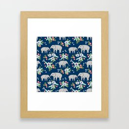 Elephants pattern navy blue with florals cute nursery baby animals lucky gifts Framed Art Print