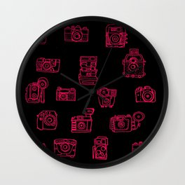 Camera: Pink - pop art illustration Wall Clock