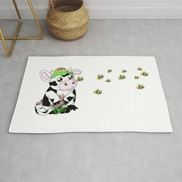 kawaii cow with a bee Rug