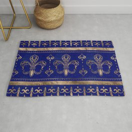 Fleur-de-lis ornament - Lapis Lazuli and Gold Rug