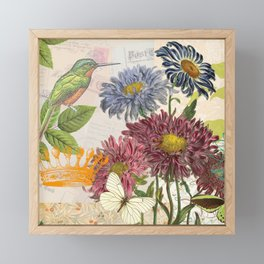 Dahlia Flowers with a Bird and a Crown Framed Mini Art Print