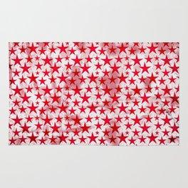 Red stars on grunge textured white background Rug