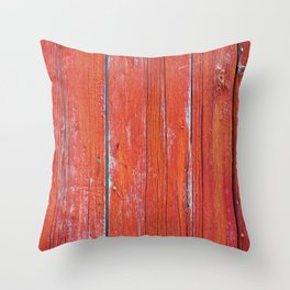 Red Rustic Fence rustic decor Throw Pillow