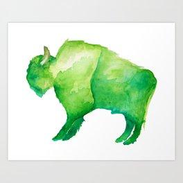 Green Bison Art Print