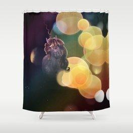 Unicorn portrait with yellow bokeh Shower Curtain