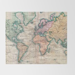 Vintage World Map 1801 Throw Blanket