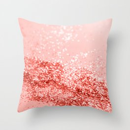 Sparkling Living Coral Lady Glitter #2 #shiny #decor #art #society6 Throw Pillow