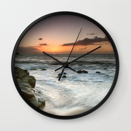 Sunset Over the Rocks Wall Clock