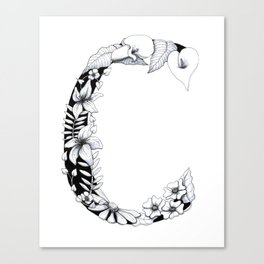 Floral Pen and Ink Letter C Canvas Print