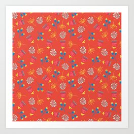 Fall Florals On Red Background Art Print