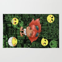 gurren lagann Area & Throw Rugs featuring Chibi Edward by artwaste
