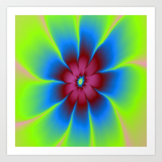 Daisy in Burgundy and Blue Art Print