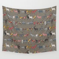 spice Wall Tapestries featuring mushroom spice deer by Sharon Turner