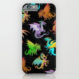Colorful Rainbow Dragons School iPhone Case