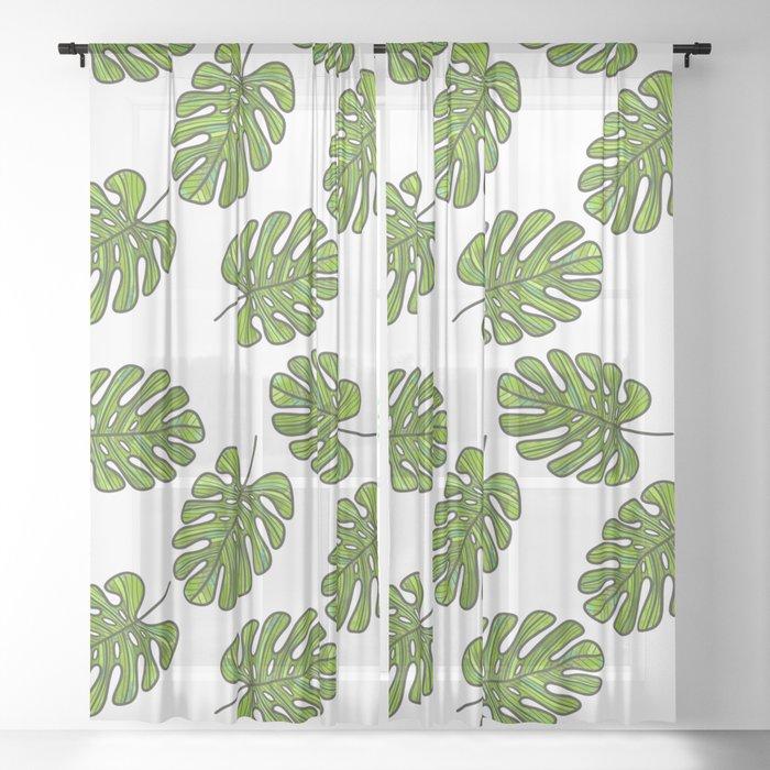 UrbanNesian Green Monstera Leaf Sheer Curtain