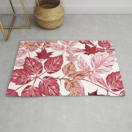 Autumn vector pattern with realistic leaves in pink red colors Rug