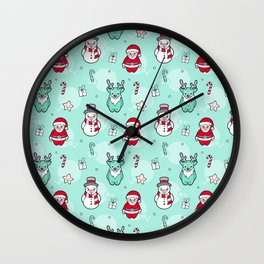 Christmas Santa claus Reindeer and snowman Wall Clock