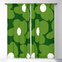 Spring Green Retro Flowers Dark Green Background #decor #society6 #buyart Blackout Curtain