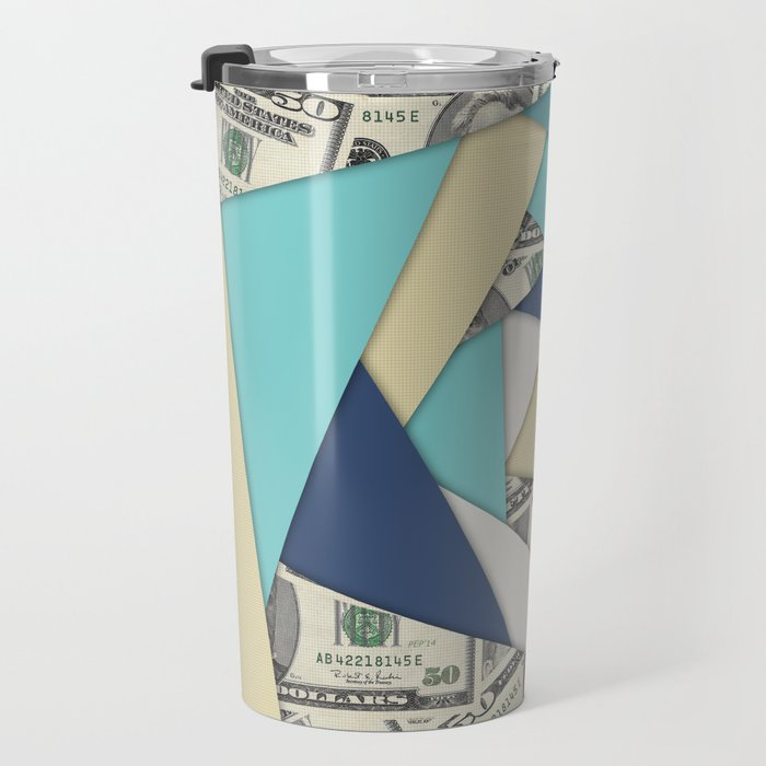 Colorful Currency Collage Travel Mug