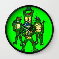 teenage mutant ninja turtles Wall Clocks featuring Teenage Mutant Ninja Turtles by beetoons