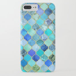 Cobalt Blue, Aqua & Gold Decorative Moroccan Tile Pattern iPhone Case