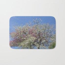 Pink and White Blossom - Blue Sky Bath Mat