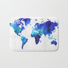 World Map 17 - Blue Art By Sharon Cummings Bath Mat