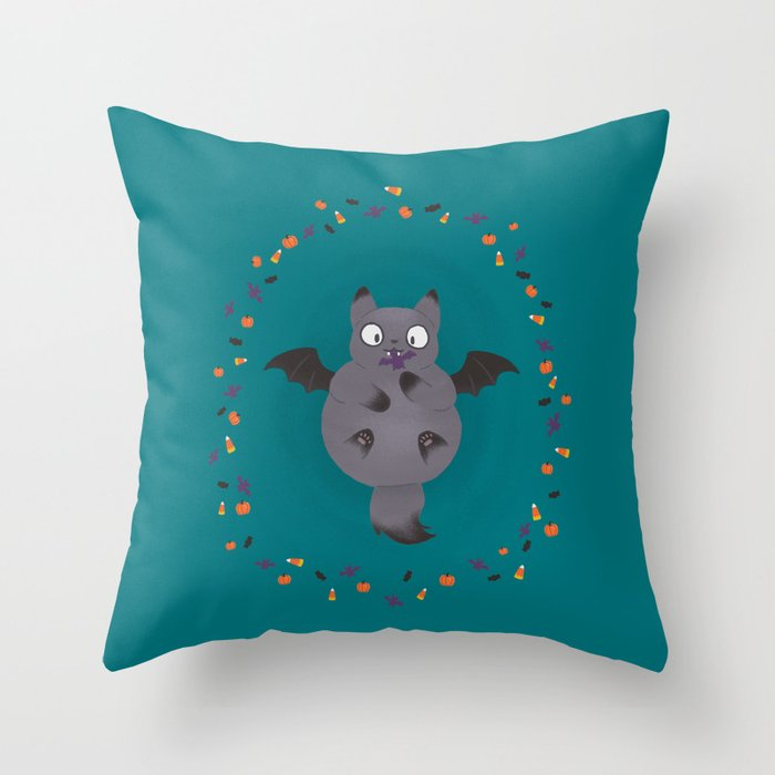 Happy Meowloween - Batcat Throw Pillow