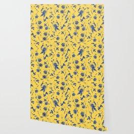 Elegant Blue Passion Flower on Mustard Yellow Wallpaper