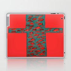 Coral & Teal Leopard Print Cross Laptop & iPad Skin