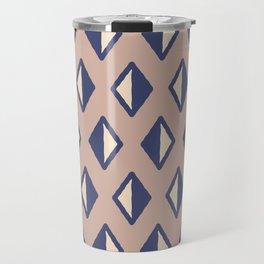 Diamond Pattern Beige and Blue Travel Mug