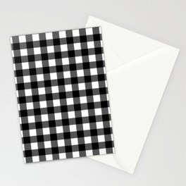 Plaid (Black & White Pattern) Stationery Cards
