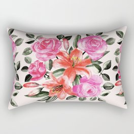 Roses and Lilies in watercolor Rectangular Pillow