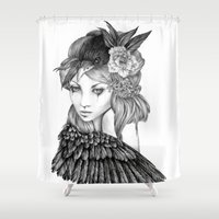 lavender Shower Curtains featuring Lavender by April Alayne